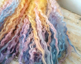Dawn Chorus - extra long Teeswater locks for Waldorf, Blythe, Bjd, Dollfie, reroot and dolls hair supply, felting supply. Blue pink yellow