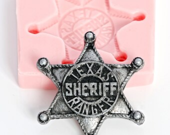 Mold western badge mold - sheriff badge mold - texas ranger badge mold - marshall badge mold - polymer clay - jewelry mold (907)