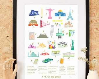 A-Z of the World Art Print
