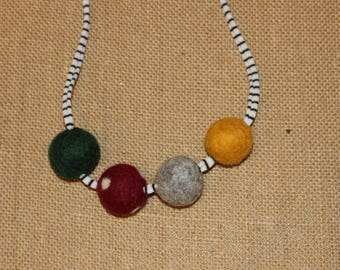 Fall Felted Wool ball necklace