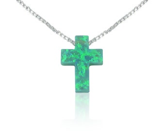 Opal Cross Necklace • Green Gift • Very Rare • One of a Kind Piece on Etsy • Be Unique With This Green Opal Representing Prosperity and Hope