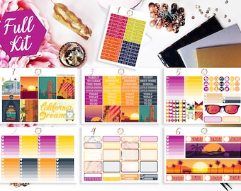 California Dreaming Planner Kit, California Weekly Kit, Travel planner stickers, Travel Planner Kit, for use with Erin Condren