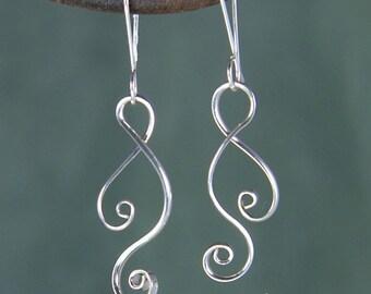 Silver Ketta Double Spiral Earrings, Argentium Sterling Silver Earrings, Shiny Spiral Earrings, Intertwining Spiral Earrings SE11