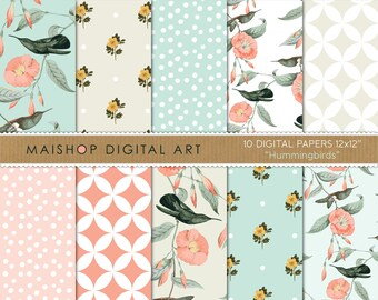 Seamless Digital Paper 'Hummingbirds' Scrapbooking Papers of Birds, Flowers, Polka Dots... for Decoupage, Scrapbook, Invitations, Cards...