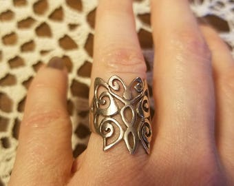 Vintage Sterling Silver Butterfly Ring, Size 4 1/4