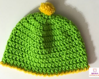 Green and Yellow Hat with removable Pom Pom crochet handmade
