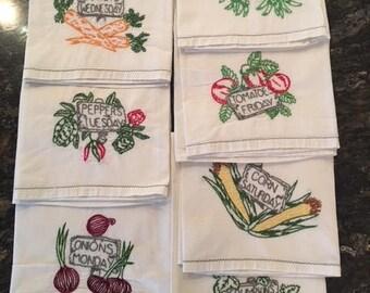 Days of the Week Dishtowels, Vintage Dishtowel Set of 7, Hand Embroidered Veggies, Vintage Hostess Gift, Retro Dishtowel Set