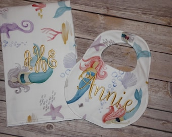 Mermaids - Boutique Bib and Burp Cloth set - Personalized Bib & Burp
