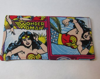 Wow!   Checkout This Checkbook Cover Made With Wonder Woman Fabric