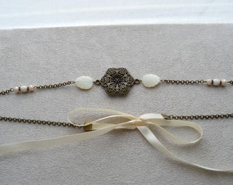 """Headband """"Nelly"""" mother of Pearl, Crystal, Czech glass, satin ribbon"""