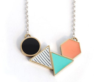 Geometric Brass and Resin 'Shapes' Necklace