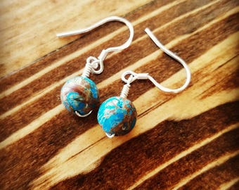 Blue Crazy Lace Agate Earrings Laughter Stone