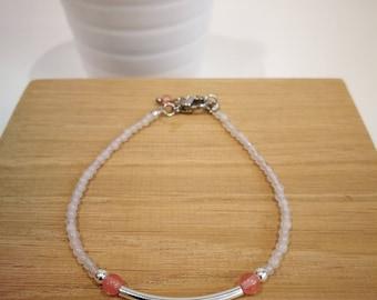 Semi-precious stones, 925 sterling silver bar bracelet