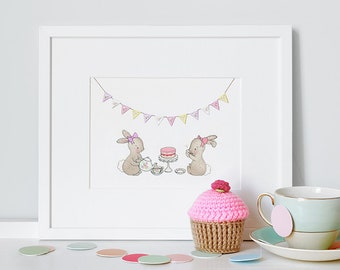 Tea Party Picture, UNFRAMED Girl's Nursery Art, Whimsical, Rabbit, Bunny, Watercolour Print, Pastel Pink, Baby Girl Gift
