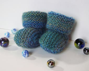 Heather blue - size 0-3 months - Angel - baby booties