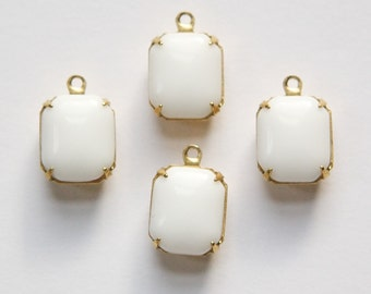 Vintage Opaque White Stones in 1 Loop Brass Setting 12mm x 10mm oct005H