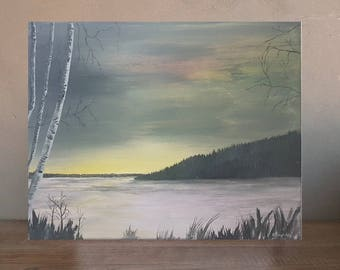 Original landscape painting on canvas trees frozen lake ice winter tree woods night sky gifts for men green art sunset ice fishing canada