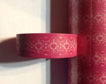 Pink lace washi tape pink hearts lace washi tape