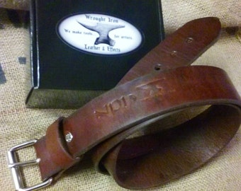 """Custom Standard Belt--Name/monogram available, No other tooling-- From 1"""" to 1 3/4' width. Extra thick to regular thickness"""