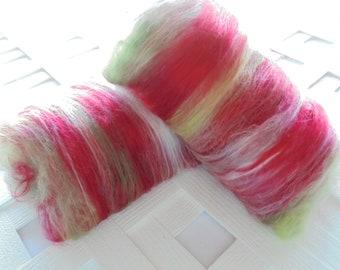 ROSE GARDEN Art Batts, Spinning Fiber, Soft art batt, merino wool, bamboo batt, silk batt, fiber batt, spinning batts, red art batt, roving