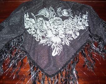 Vintage bohemian fringe silver shawl boho lace shawl gypsy shawl