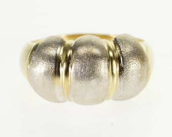 14k Two Tone Brushed Finish Scalloped Puffy Ring Gold