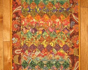 "Art Quilt, Gold, Green and Plum Kashmir Rug, Fabric Quilted Wall Hanging 38 x 18"" 100% cotton fabrics Handmade"