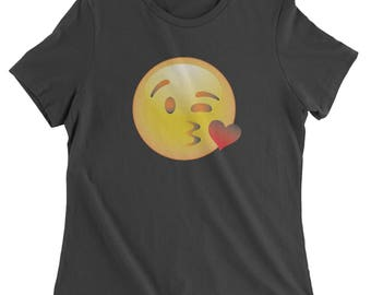 Color Emoticon - Blowing Kisses Smile Womens T-shirt