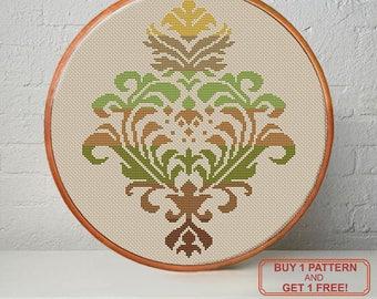 Damask multicolor modern cross stitch pattern PDF - Instant download. Buy 1 pattern - get 1 free
