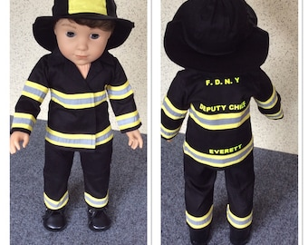 Personalized fireman outfit to fit 18 inch dolls such as American Girl, Our Generation etc