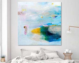 Large Abstract Painting Extra Large Wall Art Canvas Seascape Painting 48x48 Teal Painting Modern Wall Art Coastal Wall Art