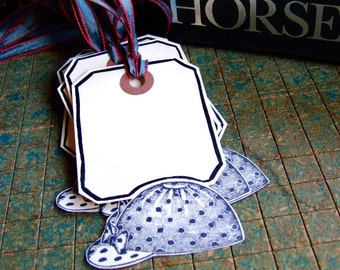 Equestrian Party Hang Tags, Package of 6 Hand Bordered, Hand Stamped Gift Tags, Kentucky Derby Place Cards