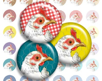 Chicken Art Collage Sheet, 1 Inch Bottle Cap Images digital Download Circles from my Chicken Coop Series