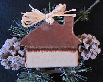 Pottery, Cabin, Christmas, Ornament, Ceramic, Handmade