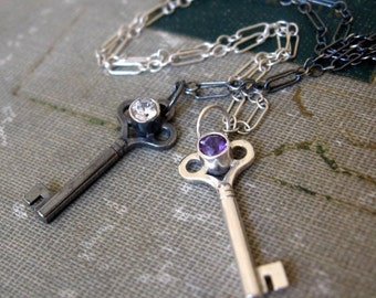 Sterling Silver Key Pendant Oxidized with White topaz ready to ship