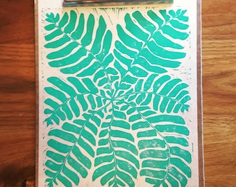Fern Linoleum Hand Carved Block Print