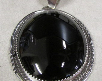 Navajo Sterling Silver and Black Onyx Pendant