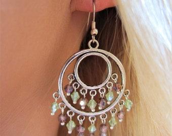 Boho Purple & Green Crystal Tibetan Silver Chandelier Earrings