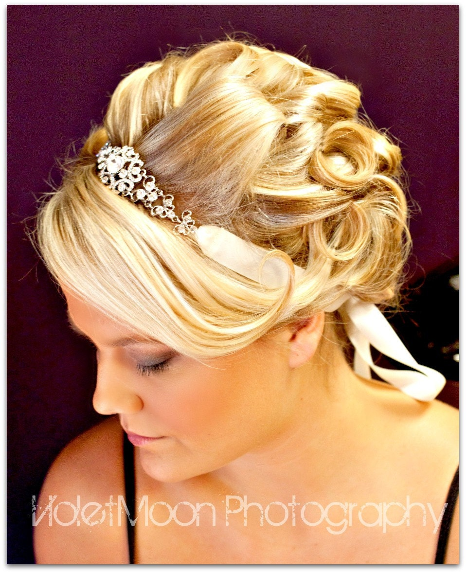 bridal ribbon rhinestone headbandwedding hair