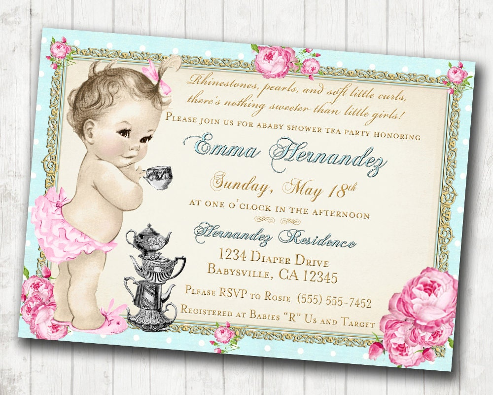 Baby Shower Tea Party Invitation Shabby Chic Floral Vintage