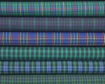 Green Tartan Plaid Bundle  - 8 Fabrics - Choose Your Cut - Scottish Plaids - Highland Games