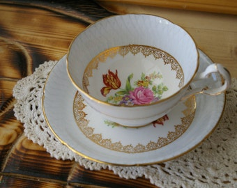 Exquisite White Lattice Royal Grafton Bone China Teacup