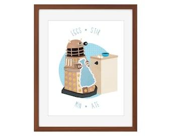 Doctor Who Dalek kitchen print - Eggs-Stir-Min-Ate