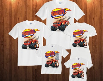 Blaze and monster machines Birthday Long Sleeve and Short Sleeve Shirt, Custom personalized t-shirts for all family,