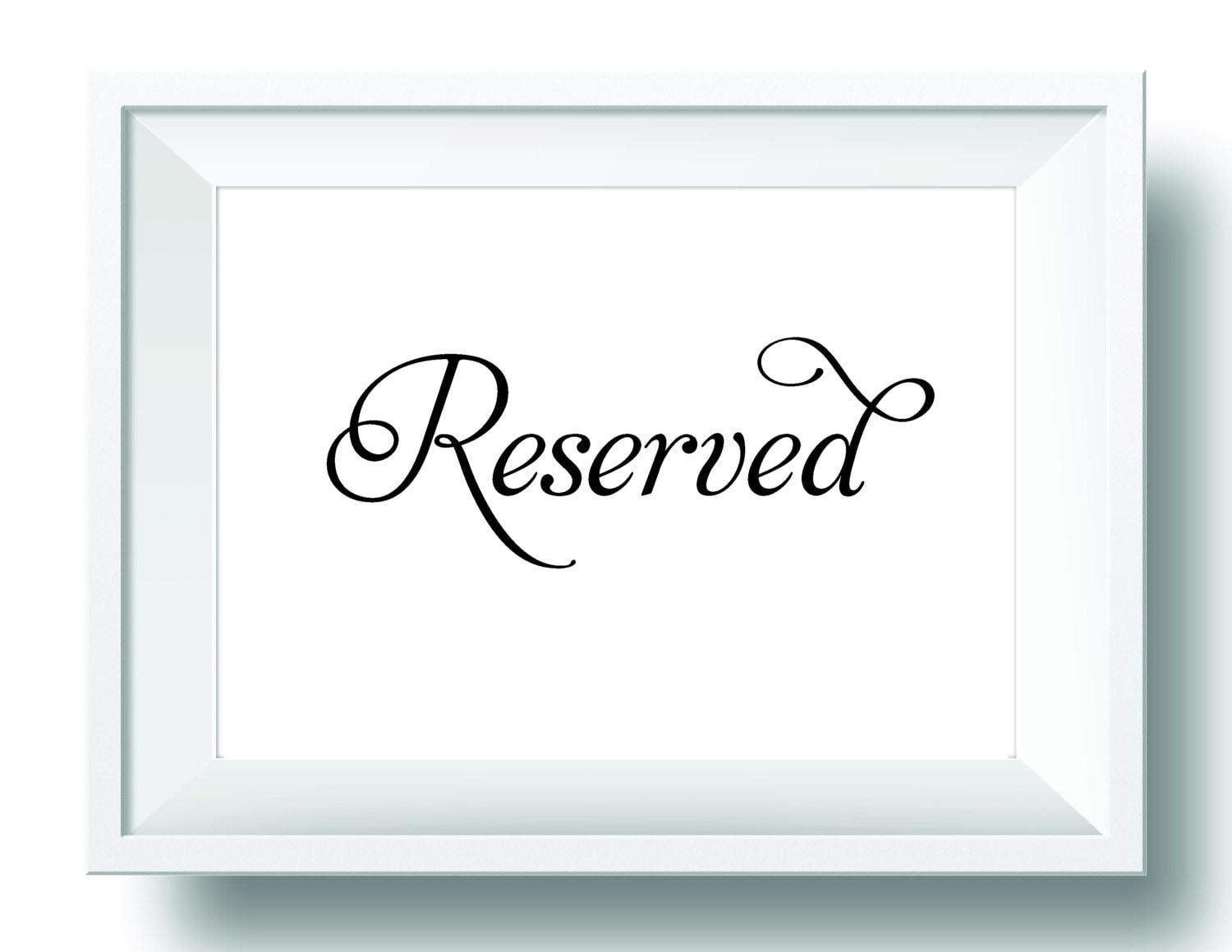 Reservados muestra tabla signo de boda para imprimir