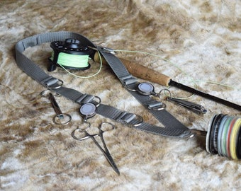 """Fly Fishing Lanyard , 1"""" Polyester Webbing Strap, Grey ,with 8 Split Rings for accesories, and 1 Tippet Spool Holder."""