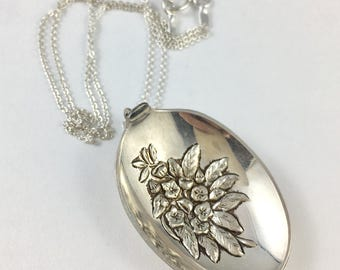 Connecticut Necklace, Connecticut  Woman, Mountain Laurel, Flower Charm, Spoon Necklace, Gardener Gift, Spoon Jewelry, Connecticut Gift