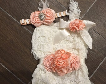 Peach and Cream Lace Petti Romper Set/Flower Sash & Headband/Babies Thru Toddlers/Peach and Cream Cake Smash Outfit/Birthday Set