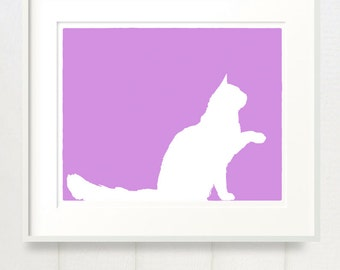 Maine Coon Cat - 8x10 Fine Art Silhouette Print in your choice of color