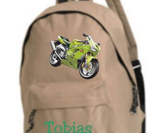 beige backpack bike personalized with name